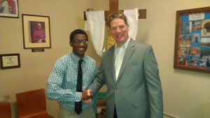 Leo HS Alumni Assn Jack Howard Scholarship Recipient Jeremy Clark '14 with Alumni President Dan Stecich '74